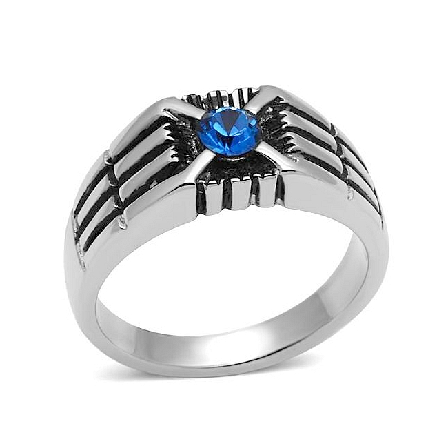Petite Silver Tone Mens Ring Capri Blue Crystal