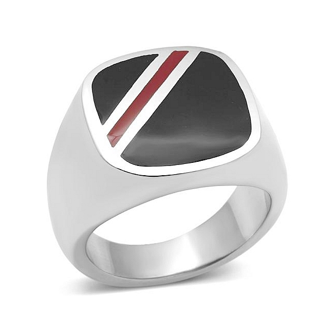 Elegant Silver Tone Mens Ring Multi Color Epoxy