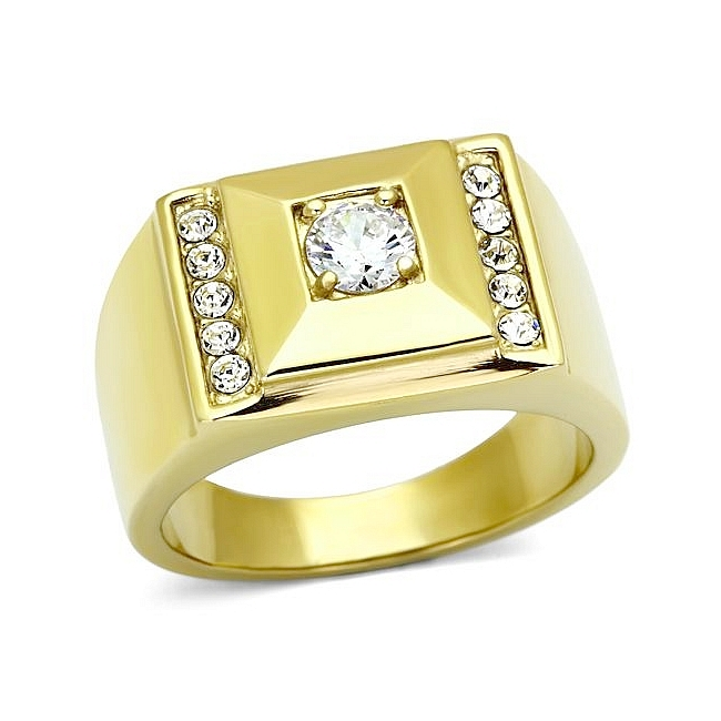 14K Gold Plated Square Mens Ring Clear CZ