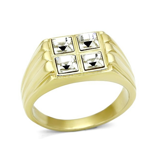 Extraordinary 14K Gold Plated Mens Ring Clear Crystal