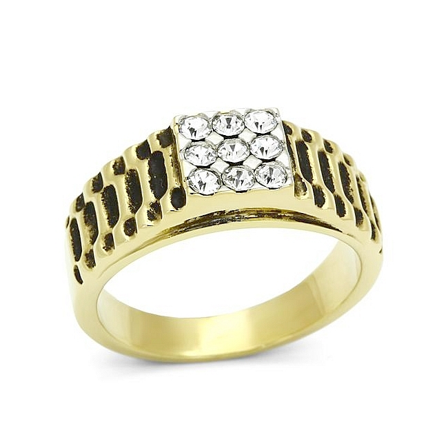 14K Two Tone Plated Mens Ring Clear Crystal