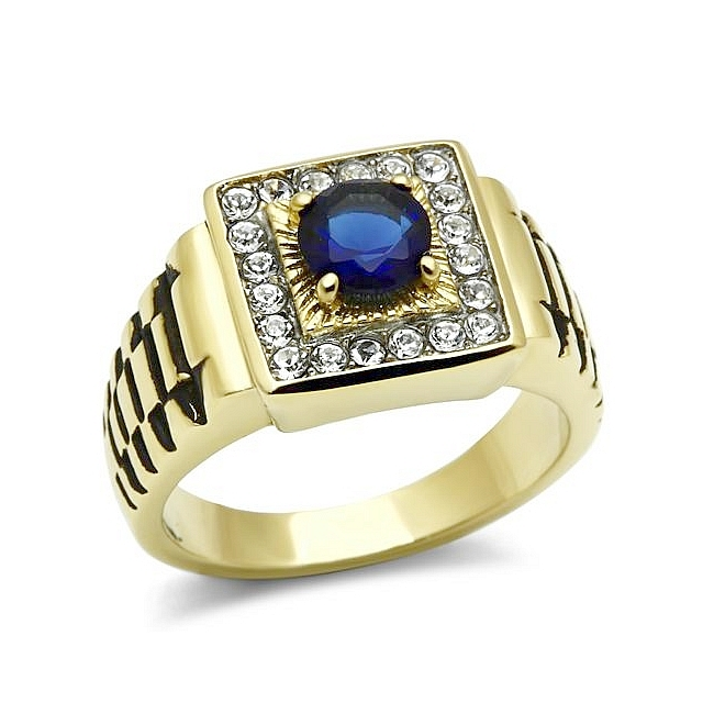 Classy 14K Two Tone Plated Masonic Mens Ring Montana Synthetic Glass