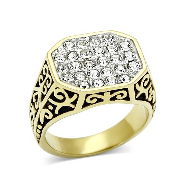 14K Two Tone Plated Masonic Mens Ring Clear Crystal