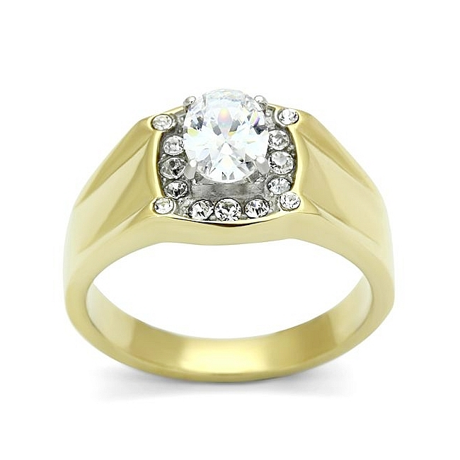 14K Two Tone Plated Mens Ring Clear Cubic Zirconia