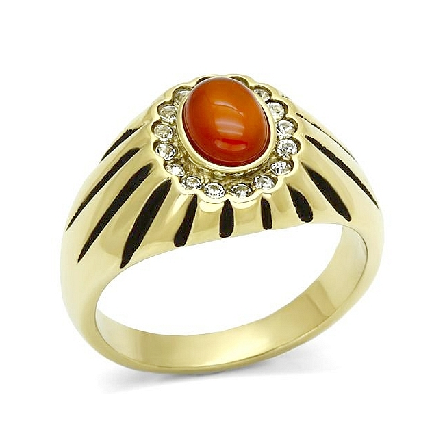Lovely 14K Gold Plated Mens Ring Siam Synthetic Agate