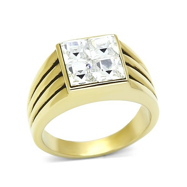 14K Gold Plated Square Mens Ring Clear Crystal