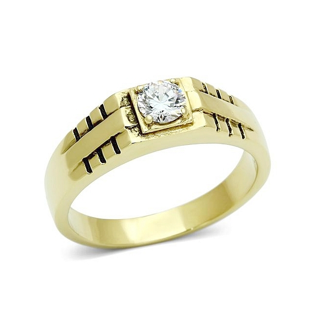 14K Gold Plated Mens Ring Clear Crystal