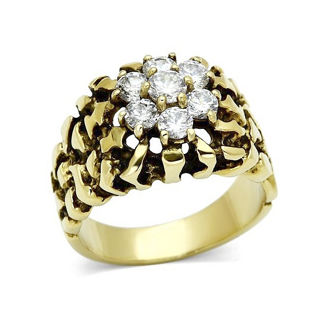14K Gold Plated Mens Ring Clear CZ