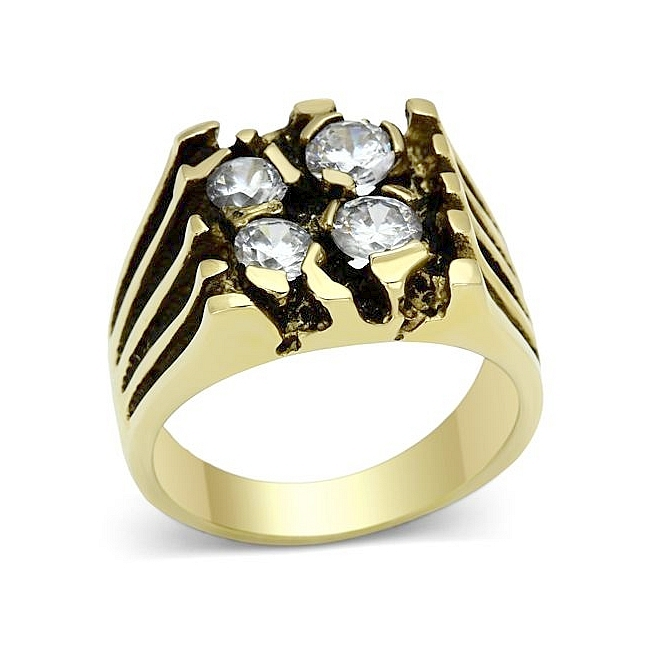 14K Gold Plated Masonic Mens Ring Clear CZ