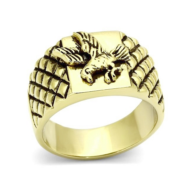 Petite 14K Gold Plated Masonic Mens Ring