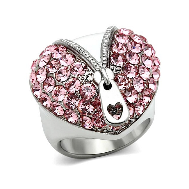 Silver Tone Pave Fashion Ring Rose Crystal