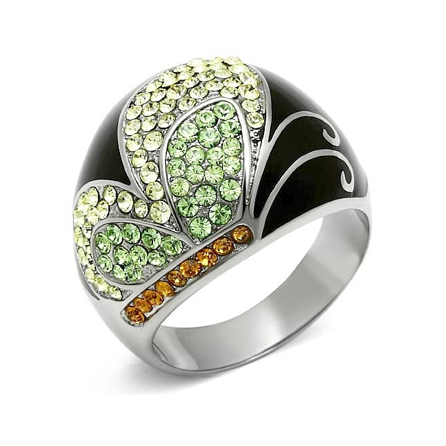 Classic Silver Tone Pave Fashion Ring Multi Color Crystal