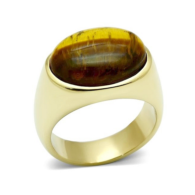14K Gold Plated Mens Ring Topaz Synthetic Tiger Eye