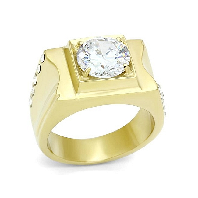 14K Gold Plated Square Mens Ring Clear Cubic Zirconia