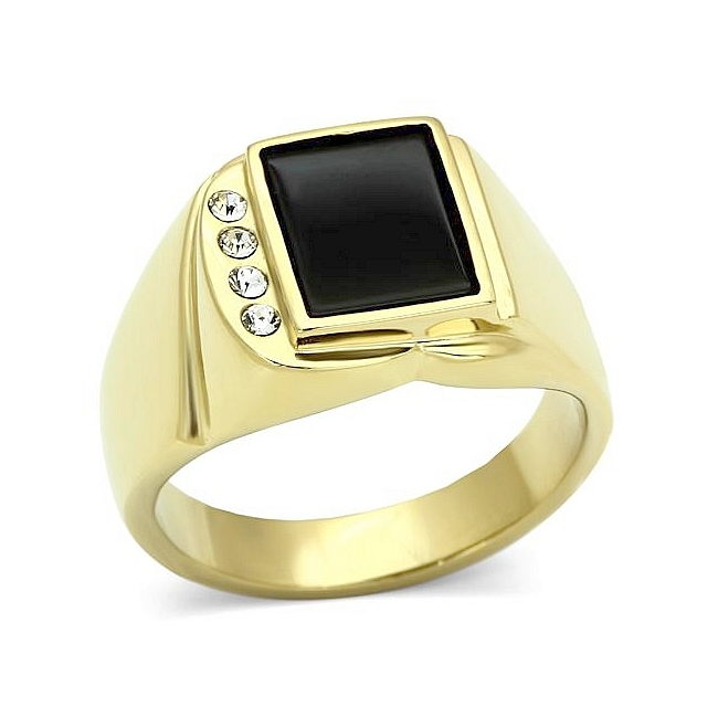 14K Gold Plated Square Mens Ring Black Synthetic Onyx