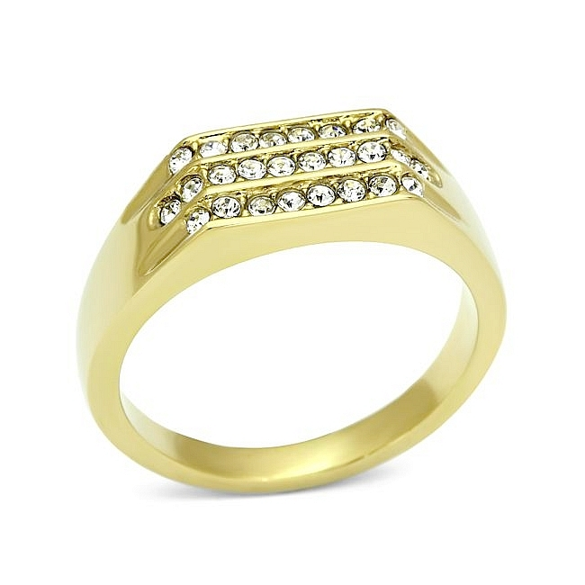 Gold Plated Mens Ring Clear Crystal
