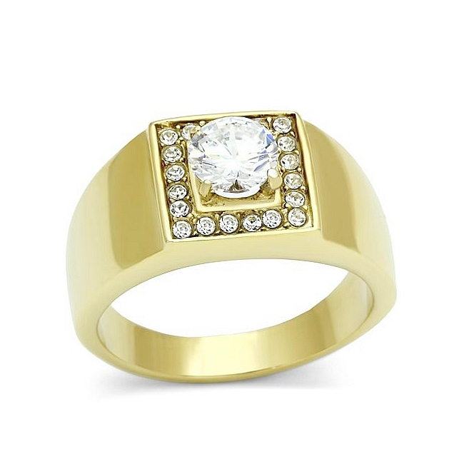 Exquisite 14K Gold Plated Square Mens Ring Clear CZ