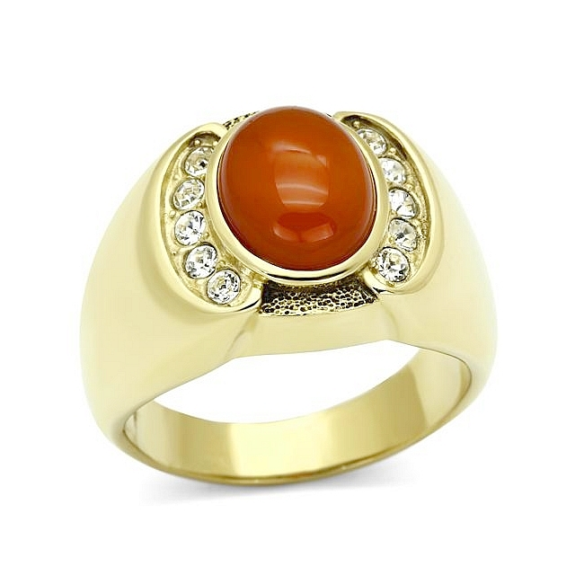14K Gold Plated Mens Ring Siam Synthetic Agate
