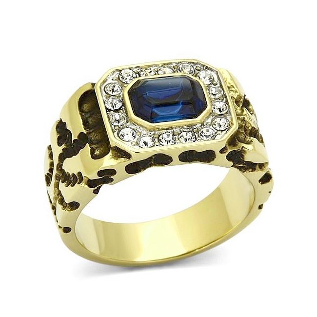 14K Two Tone Plated Square Mens Ring Montana Crystal