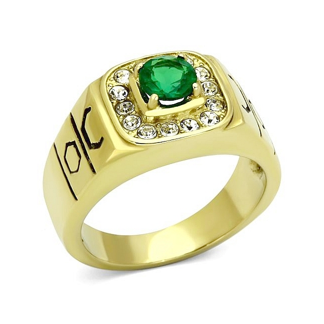 Lovely 14K Gold Plated Mens Ring Emerald Synthetic Glass