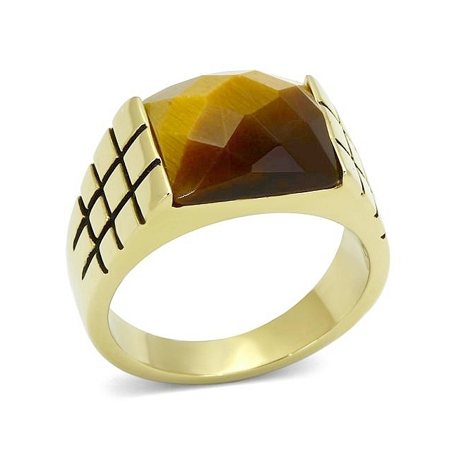 Petite 14K Gold Plated Square Mens Ring Topaz Synthetic Tiger Eye