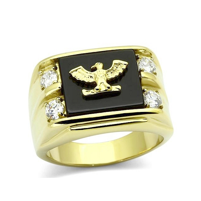 14K Gold Plated Square Mens Ring Black Synthetic Agate