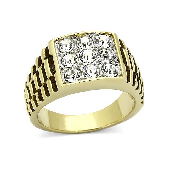 Classic 14K Two Tone Plated Square Mens Ring Clear Crystal