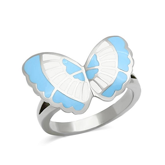 Silver Tone Butterfly Fashion Ring Multi Color Epoxy
