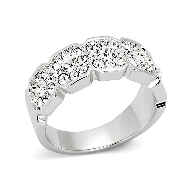 Silver Tone Pave Wedding Ring Clear Top Grade Crystal