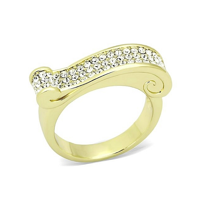 14K Gold Plated Modern Fashion Ring Clear Top Grade Crystal