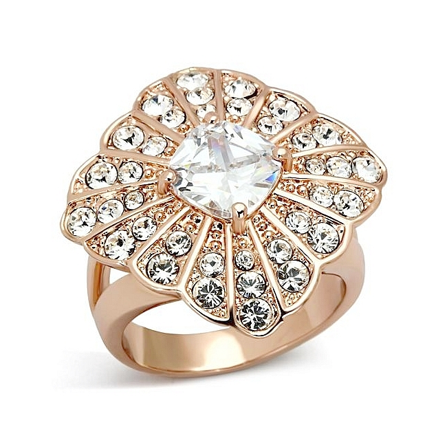 14K Rose Gold Plated Pave Fashion Ring Clear Top Grade Crystal
