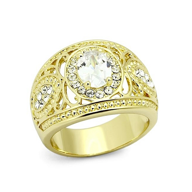 Petite 14K Gold Plated Fashion Ring Clear CZ