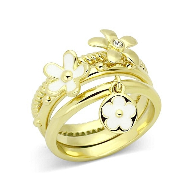 Stylish 14K Gold Plated Flower Fashion Ring Clear Top Grade Crystal