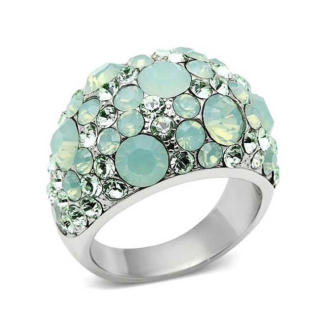 Silver Tone Fashion Ring Multi Color Crystal