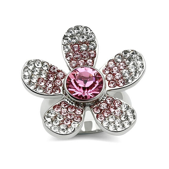 Silver Tone Flower Fashion Ring Multi Color Crystal