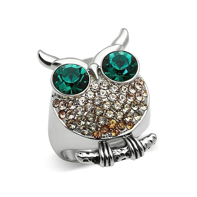 Silver Tone Owl Animal Fashion Ring Multi Color Crystal