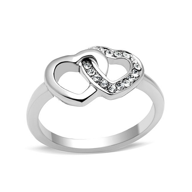 Silver Tone Heart Fashion Ring Clear Crystal