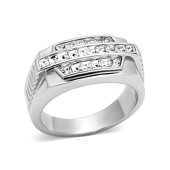 Lovely Silver Tone Square Mens Ring Clear Crystal