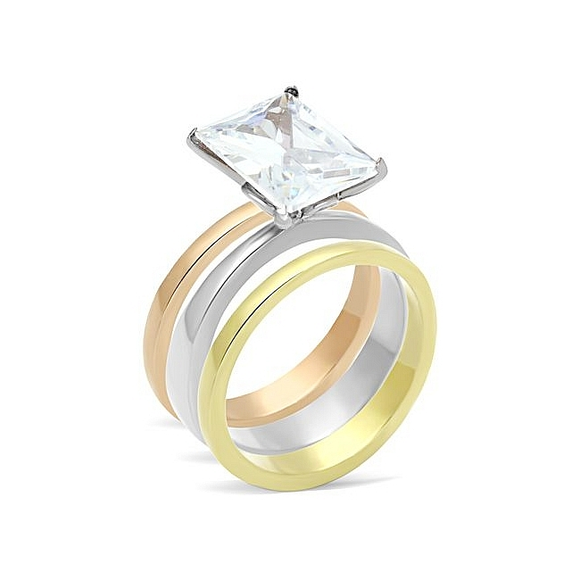 Petite Ion Tri Tone (Gold & Rose Gold & Silver) Solitaire Engagement Wedding Ring Set Clear CZ