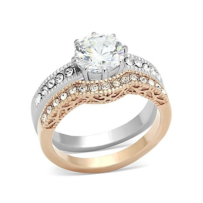 14K Rose Gold Plated Vintage Engagement Wedding Ring Set Clear CZ