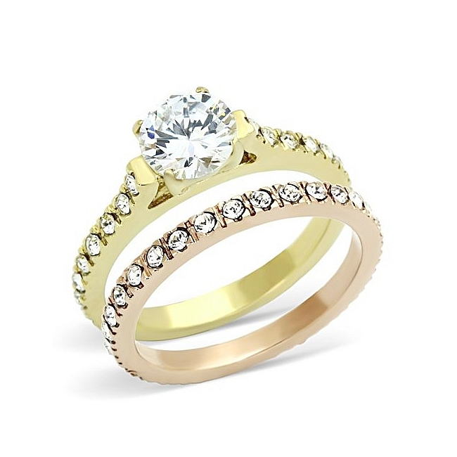 Clic Wedding Ring Set Round Cubic Zirconia Two Tone Gold Plated