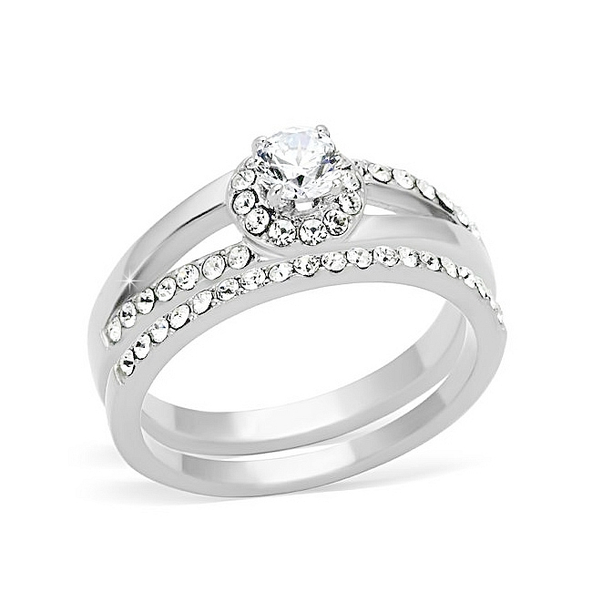 Silver Tone Pave Engagement Wedding Ring Set Clear Cubic Zirconia