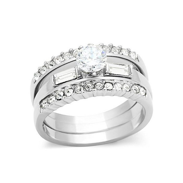 Petite Silver Tone LUXURY Wedding Ring Set with Round CZ