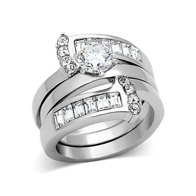 Silver Tone Pave Engagement Wedding Ring Set Clear CZ