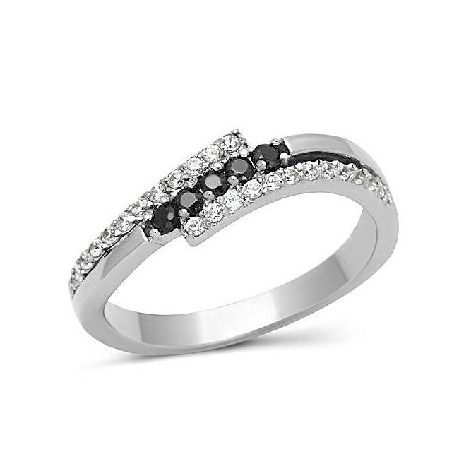 Classic Silver Tone Pave Wedding Ring Black Cubic Zirconia
