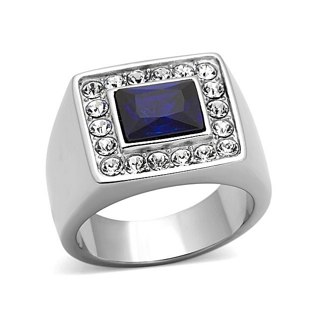 Exquisite Silver Tone Square Mens Ring Montana Synthetic Glass