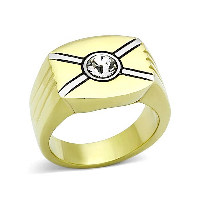 14K Two Tone ( Gold & Silver) Square Mens Ring Clear Crystal