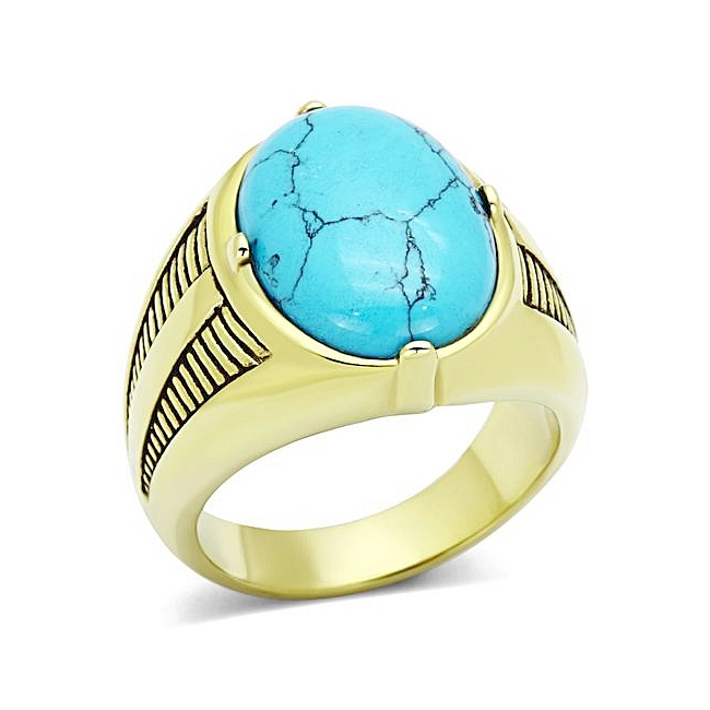 14K Gold Plated Mens Ring Aqua Synthetic Turquoise