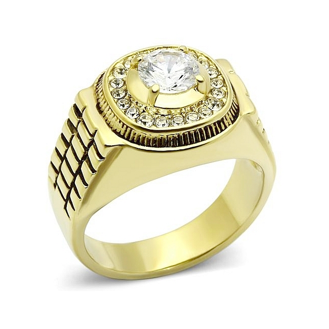 Exclusive 14K Gold Plated Mens Ring Clear CZ