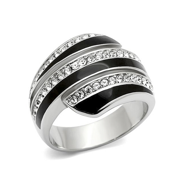 Classic Silver Tone Band Fashion Ring Clear Crystal